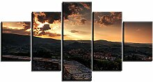 AdoDecor 5 PCS Set Sunset Town Sky Ölgemälde