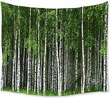 AdoDecor Birkenbaum Wandteppich frische grüne