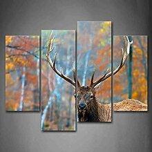AdoDecor Elch im Wald Herbst Wandkunst Malerei Das