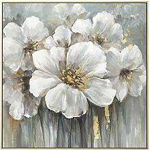 AdoDecor Gemalte abstrakte weiße Blume Malerei