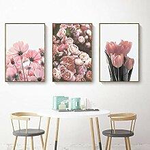 AdoDecor Nordic Blume Canvas Malerei Wohnzimmer