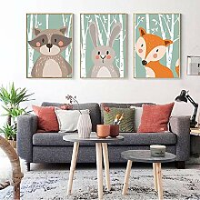 AdoDecor Nordic Forest Animal Canvas Malerei