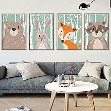 AdoDecor Nordic Forest Animal Leinwand Malerei
