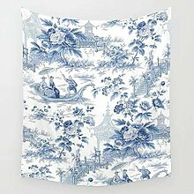 AdoDecor Powder Blue Toile Tapisserie Wandbehang
