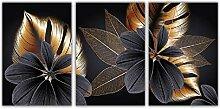 AdoDecor Schwarzes goldenes Pflanzenblatt