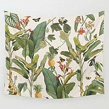 AdoDecor Tapisserie Pflanze Ananas Schmetterling