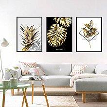 AdoDecor Wandkunst Golden Leaf Monstera Ananas