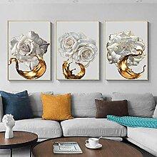 AdoDecor Wandkunst Weiße Rose Blume Golden Ink