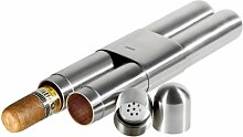 Adorini 2er Zigarrenetui Stahl - Satin/Zeder inkl. Lifestyle-Ambiente Tastingbogen