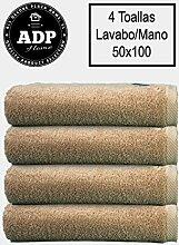 ADP Home–Handtücher/Waschbecken Qualität 100% gekämmte Baumwolle 550g, 4er-Pack 50 x 100 cm beige