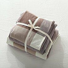 ADREAM 100% Baumwolle Bettwäsche Set Farbe Gestickten Bettdecke Set Braun Heimtextilien für King Queen Size 4 Stk.