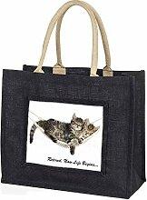 Advanta–Große Einkaufstasche Katzen in Hängematte Ruhestand Geschenk große Einkaufstasche Weihnachtsgeschenk Idee, Jute, schwarz, 42x 34,5x 2cm