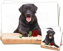 Advanta - Coaster and Placemat Set Black Lab with
