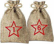 Adventino Adventskalender mit 24 Säckchen zum