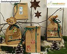 Advents-Kalender Weihnachten zum befüllen ★ 24 Papier-Tüten-Kalender braun Sticker + 1 Satinband grün ✓ basteln Erwachsene Grund-Schule Kinder-Garten Frauen Männer | trendmarkt24 623310