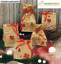 Advents-Kalender Weihnachten zum befüllen ★ 24 Papier-Tüten-Kalender 10x7x26 cm braun Sticker + 1 Satinband Rot ✓ basteln DIY Dekoration Deko ✓ Grund-Schule Kinder-Garten | trendmarkt24 623320