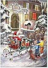 Adventskalender A4- Weihnachtsmann im Schlitten