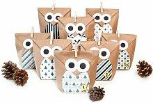 Adventskalender Bastelset Christmas Owl Blue (Set
