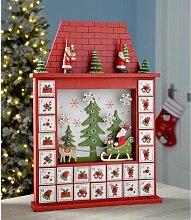 Adventskalender Haus mit Weihnachtsmännern Die