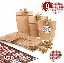 Adventskalender Mini Tüten Kraftpapier 15 x 9 x
