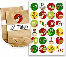 Adventskalender Miniset 1 - Aufkleber und Tüten