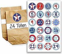 Adventskalender Miniset 12 - Aufkleber und Tüten