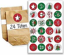 Adventskalender Miniset 15 - Aufkleber und Tüten