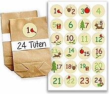 Adventskalender Miniset 19 - Aufkleber und Tüten