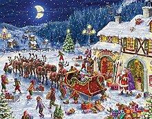 Adventskalender mit Weihnachtsmannschlitten