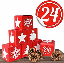 Adventskalender Red Christmas Boxen im Set mit 24