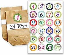 Adventskalender Set - 24 braune Geschenktüten und 24 bunte Zahlenaufkleber - zum basteln und zum selberfüllen - Mini Set 3 von Papierdrachen