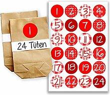 Adventskalender Set - 24 braune Geschenktüten und 24 bunte Zahlenaufkleber - zum basteln und zum selberfüllen - Mini Set 20 von Papierdrachen