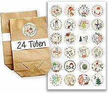 Adventskalender Set - 24 braune Papiertüten und 24 bunte Zahlenaufkleber - zum selbermachen und befüllen - Mini Set 22 von Papierdrachen
