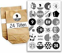 Adventskalender Set - 24 braune Papiertüten und 24 schwarz-weiße Zahlenaufkleber - zum selber machen und befüllen - Mini Set 4 von Papierdrachen