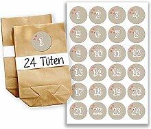 Adventskalender Set - 24 braune Tüten und 24 beige Zahlenaufkleber - zum basteln und zum befüllen - Mini Set 11 von Papierdrachen
