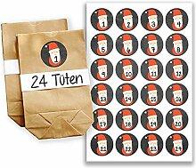 Adventskalender Set - 24 braune Tüten und 24 rot-schwarze Zahlenaufkleber - zum basteln und zum selbstbefüllen - Mini Set 23 von Papierdrachen