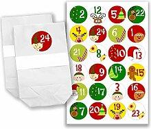 Adventskalender Set - 24 weiße Papiertüten und 24 bunte Zahlenaufkleber - zum selber machen und befüllen