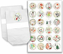 Adventskalender Set - 24 weiße Papiertüten und 24 bunte Zahlenaufkleber - zum selber basteln und zum befüllen