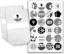 Adventskalender Set - 24 weiße Papiertüten und 24 schwarz-weiße Zahlenaufkleber - zum basteln und zum selbstbefüllen