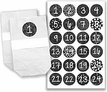 Adventskalender Set - 24 weiße Papiertüten und 24 schwarz-weiße Zahlenaufkleber - zum basteln und zum befüllen