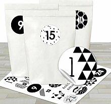 Adventskalender Set - 24 weiße Papiertüten und