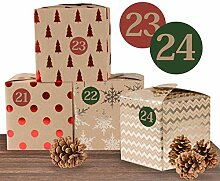 Adventskalender Set aus 24 braunen Adventsboxen