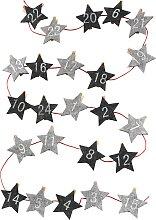 Adventskalender Sterne mit Klammern, grau