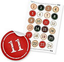 Adventskalender Zahlen 1-24 Aufkleber Sticker 4cm