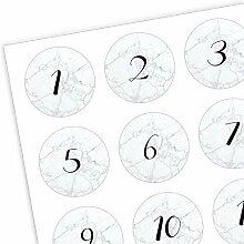 Adventskalender Zahlen Aufkleber 1-24 Marmor -
