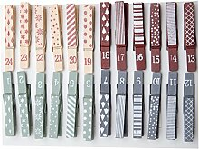 Adventskalender Zahlen Holzklammern, 24 Stück,