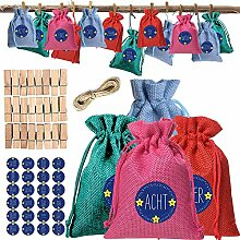 Adventskalender zum Befüllen, 24 Stoff Tüten DIY