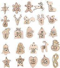 Adventskalendernummern Holznummer, 24 Stück