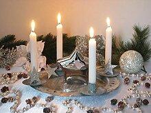 Adventskranz Komplett-Set, Kerzenleuchter, Teller