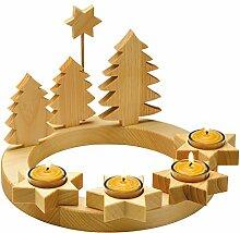 Adventskranz massiv Holz, geölt mit 4
